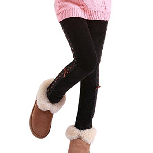 BoodTag Leggings Fille Collant Velours Hiver Elastique Taille Haute Pantalon Chaud Epais pour Enfants(150cm (10-11 ans), Noir)