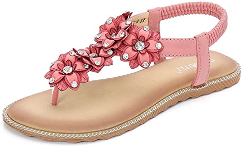 Gracosy  s Plates Femmes, Chaussures de Ville Talons Été Tongs Nu Pieds Perlés à Talons Ville Plats avec Semelles Épaisses...B07CG2Y842Parent 5963a8