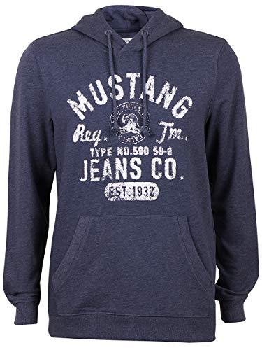 MUSTANG Herren Kapuzenpullover Sweatshirt Pullover Mit Logo Print Sommer Hoodie Mit Kapuze Regular Fit Anthrazit Blau S M L XL 2XL 3XL, Größe:XL, Farbe:Blue Nights Melange (5370)