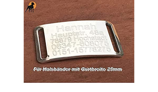 inkl Wunschgravur Halsband Gravurplatte Hundemarke aus Edelstahl f/ür B/änder bis 25mm