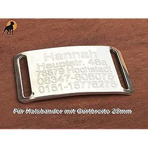 Halsband Gravurplatte Hundemarke aus Edelstahl für Bänder bis 25mm, inkl. Wunschgravur