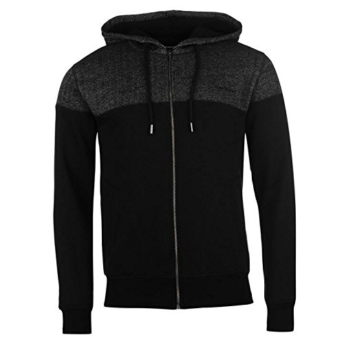 Pierre Cardin a spina di pesce pannello nero con cappuccio e cerniera intera, con cappuccio maglione giacca, Black, S