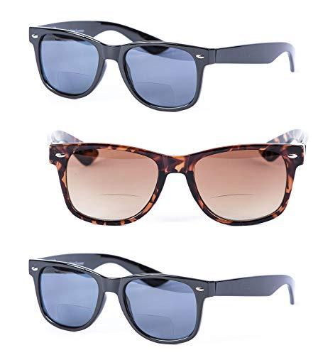 Preisvergleich Produktbild Mass Vision 3 Paar Von Bifokalwillen Lese Sonnenbrillen für Und - Außen Sun Lesebrille (1, 5) 3 1.5 51 Gradient Mittel Schwarz / Tortoise