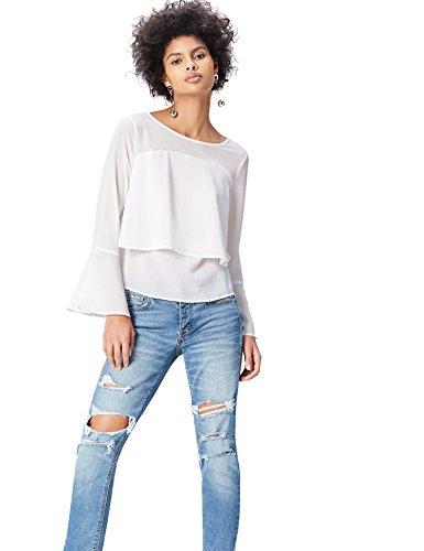 FIND Damen Bluse mit Trompetenärmeln Weiß