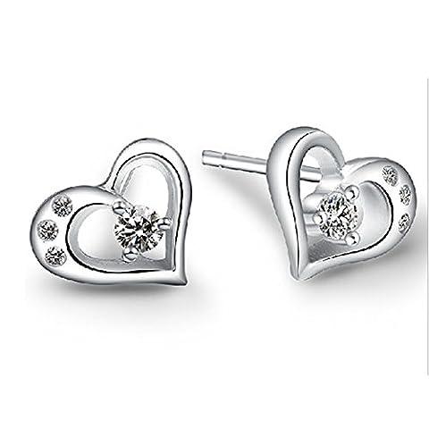 Wiftly Femme Fille boucles d'oreilles en Argent 925 et Zirconium Bijoux de coeur Petit de l'oreille hypoallergénique de Noël Cadeaux Clips