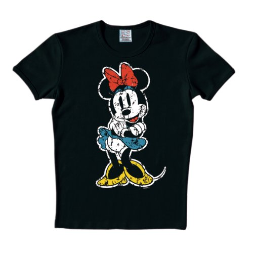 Mouse Minie Kostüme (Logoshirt Unisex T-Shirts   - Schwarz - Schwarz - XS (Herstellergröße:)