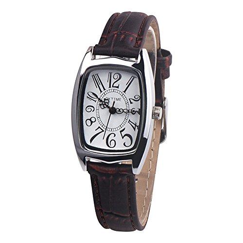Uhren Dellin Mode Lässig Chic Retangle Damen Lederband Analog Quarzuhr (Braun)