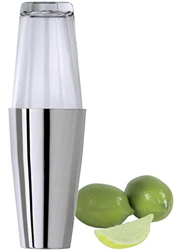 Boston Cocktailshaker, zweiteilig, aus hochglänzendem Edelstahl, mit Becher aus dickwandigem und gehärteten Glas / Inhalt: 0,5 Liter | ERK