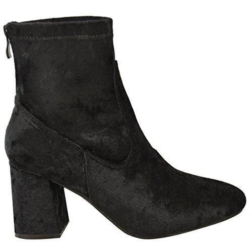 Donna Grosso Chelsea A Blocco Stivali Alla Caviglia Con Tacco Basso Velluto Scarpe Casual Misura velluto nero