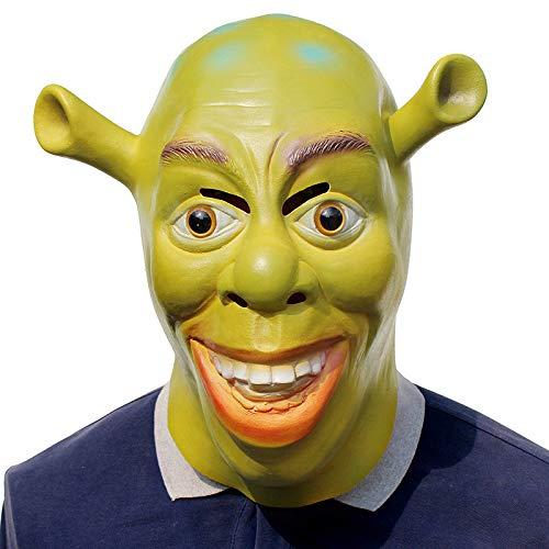 AKCHIUY Shrek Maske,Halloween Film Requisiten Latex Kopfbedeckungen Erwachsener Fasching Voller Kopf Masken,Green-OneSize
