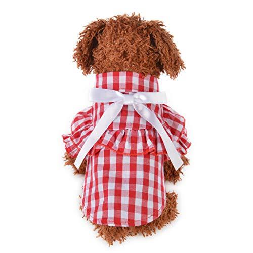 YWLINK Haustier Hunde Katze Sommer Kariertes RüSchen Hemdkleid Atmungsaktive Bogen Prinzessin Shirt Retro Elegant Party Kleidung (Rot,XS)