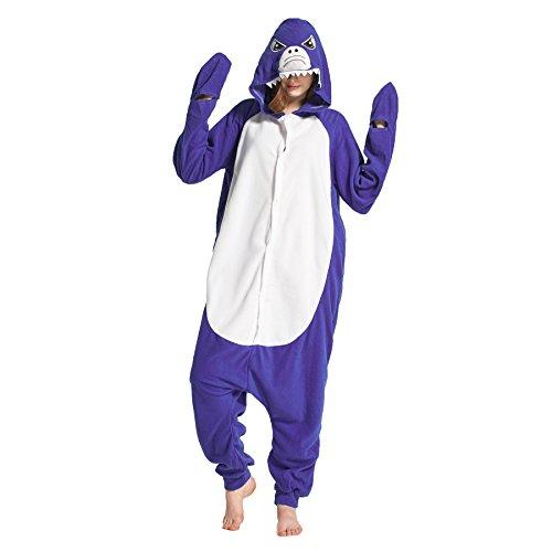 Hstyle Unisex-Erwachsene Einteiler Sleepsuit Pyjamas Kigurumi Jumpsuits Halloween-Fance-Kleid Shark Großen (Shark Kleid Für Erwachsene Kostüm)