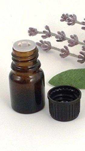 2,5ml en verre AMBRE Aromathérapie Bouteille (Lot de 4) avec bouchon inviolable Noir