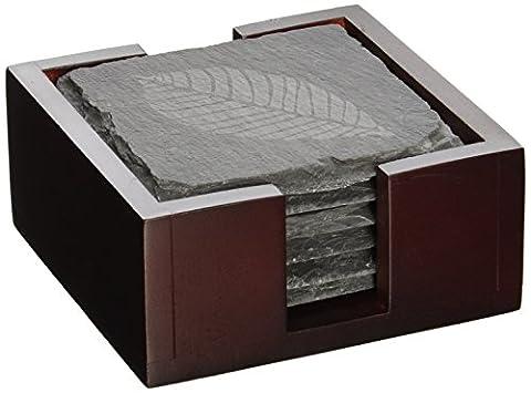 artaste 28492–Ardoise–Lot de 6dessous de verre avec motif feuilles, avec support en bois massif