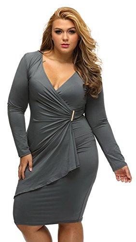 la vogue damen business cockteilkleid slim abend etuikleid gro e gr en grau. Black Bedroom Furniture Sets. Home Design Ideas