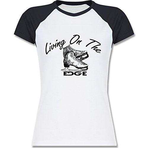 Shirtracer Wintersport - Living On The Edge - Zweifarbiges Baseballshirt/Raglan T-Shirt für Damen Weiß/Navy Blau