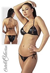 Ensemble 2 Pièces Femme - Bikini Effet mouillé Wetlook - Ouvert et Lacets - L/XL
