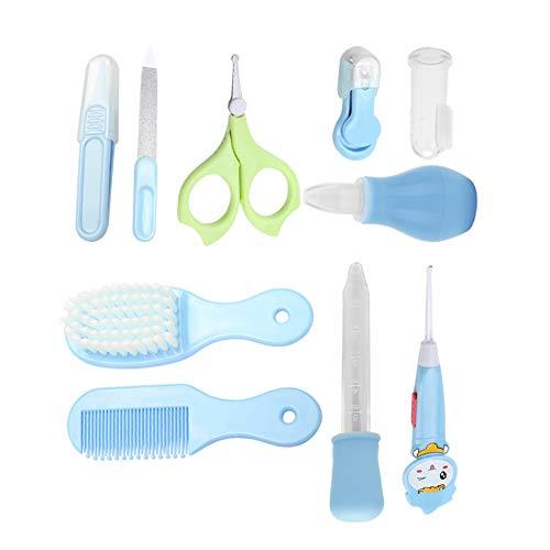 Baby Pflegeset 10-teilige Babypflegen Produkte für Baby,Gesundheitswesen Nagel Werkzeuge Infant Sicherheit Nagelknipser Schere Neugeborenen Pflege Kit(Blau)