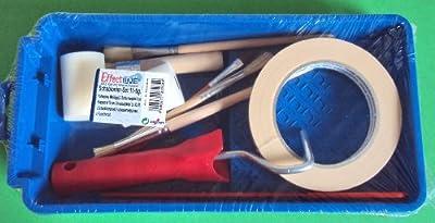 11 teiliges Malerset / Farbwanne / Bügel mit 2 Schaumwalzen 5 cm / Kreppband 19 mm / versch. Pinsel / Farbrührstab / von Schabert auf TapetenShop