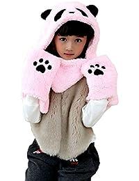 GTKC de oso panda largo sombreros capucha bufanda Suave de la Felpa Sombrero con orejeras