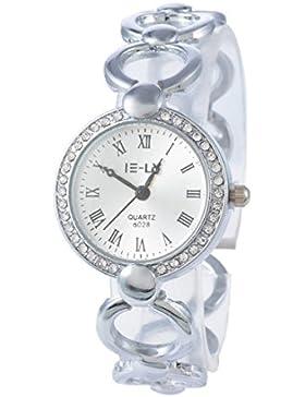Souarts Damen Silber Farbe Römische Ziffern Strass Armbanduhr Quartzuhr Analog mit Batterie