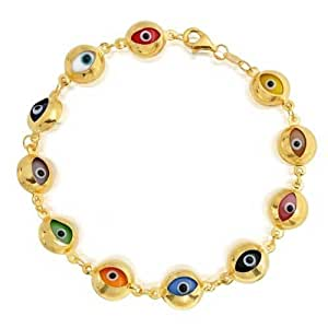 Bling Jewelry Multicolor Evil Eye Sterling Silver Gold Plated Bracelet 7 Inch