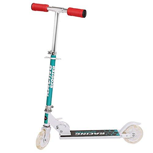 Profun Monopattino Pieghevole per Bambini Scooter Regolabile in Altezza con 2 Ruote con LED ABEC-7 per Bambini 3-7 Anni (Bianco)