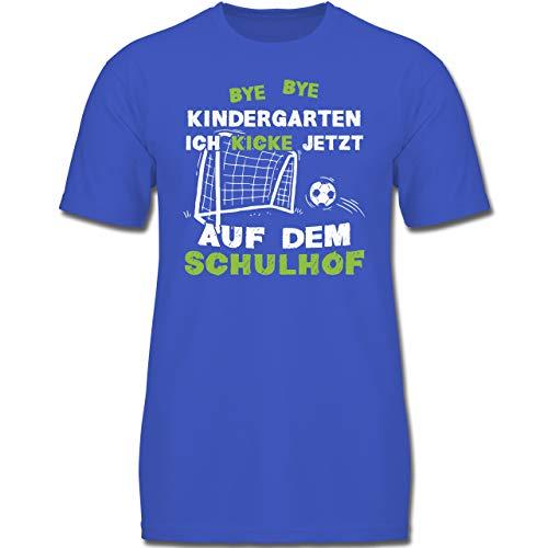 Verrückte Jungs T-shirt (Einschulung und Schulanfang - Bye Bye Kindergarten Einschulung Fußball - 140 (9-11 Jahre) - Royalblau - F130K - Jungen Kinder T-Shirt)