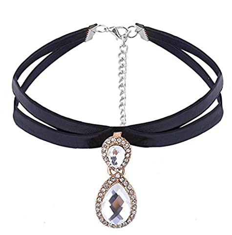 Caiyan Girl pu retro leather neck with water drop pendant , Silver