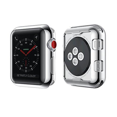 KONKY Apple Watch TPU Hülle 42mm Series 3/2, Slim Apple Watch 2/3 Silikon Case All-around Schutz Kratzfest Stoßfest Schutzhülle Gehäuse Abdeckung mit Schutzfolie Feature für iWatch 2/3 42mm (Produktgarantie), Silber