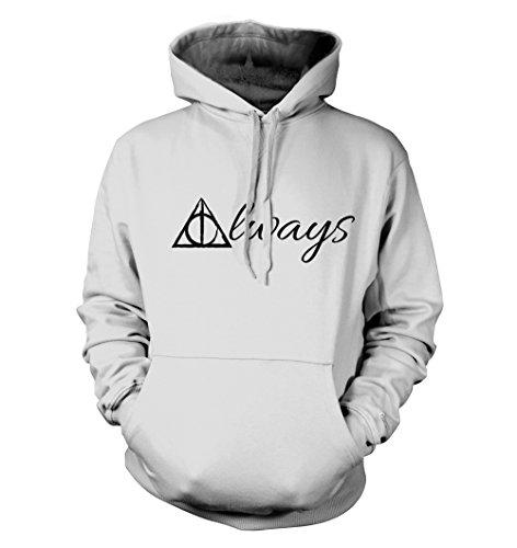 net-shirts Always Hoodie Kapuzenpullover mit Aufdruck Inspired by Harry Potter, Größe M, Weiß