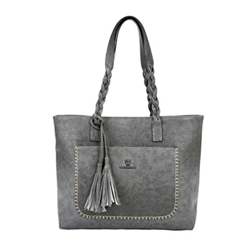 UFACE Mode GroßE Fransenhandschultertasche Damen Leder Quasten Handtasche Schulter Messenger Bag Satchel Tote Bags (Grau)
