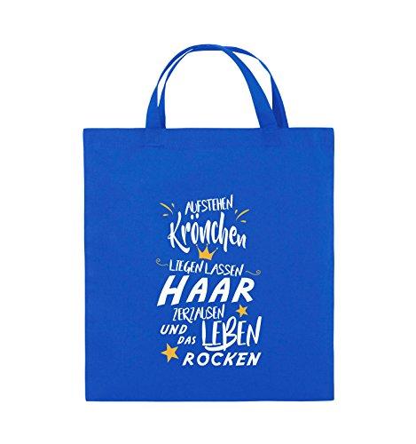 Comedy Bags - Aufstehen Krönchen liegen lassen Haar zerzausen und das Leben rocken. - Jutebeutel - kurze Henkel - 38x42cm - Farbe: Royalblau / Weiss-Gelb (V-neck-liege)