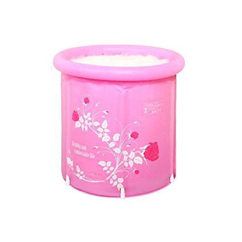 AJZGF Falt-Badewanne mit Kunststoff-Badewanne Erwachsenen-Badewanne mit aufblasbarer Badewanne Verdickte Badewanne mit Badewanne Pink Badewanne ( größe : 65*70cm )