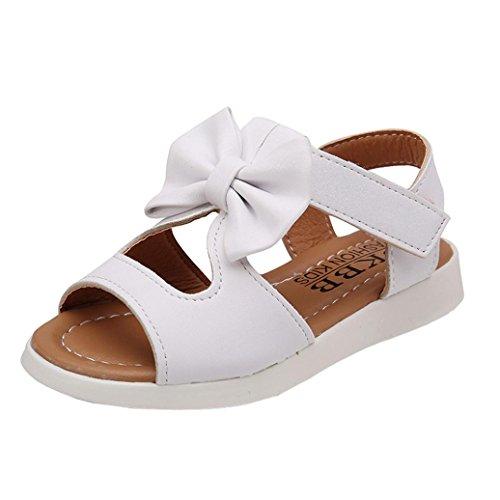 Sandalen Mädchen, FNKDOR Kinder Bowknot Mädchen Flache Prinzessin Schuhe, 21-30 (22 Länge: 14CM, Weiß)