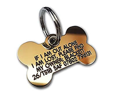 REINFORCED deeply engraved solid brass Bone pet tag