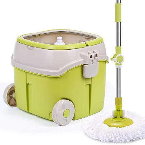 WHLMDZI Trockenrotationsmopp - Spin Mop, Single Barrel Double Drive Automatisches Trocknen Freihandwäsche Holzboden Home Mop -