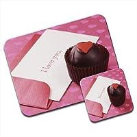 Chocolate cupcake con i Love you note Premium Mousematt & sottobicchieri