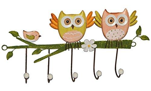 1 Stück: Garderobenhaken Eulen aus Metall - Wandhaken Kindergarderobe mit 5 Kleiderhaken Kind Wandgarderobe - für Innen und Außen - bunte Eule Vögel Tiere