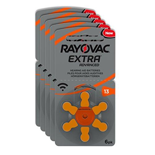 Rayovac Extra Advanced Zink Luft Hörgerätebatterie (in der Größe 13er Pack, mit 30 Batterien, geeignet für Hörgeräte Hörhilfen Hörverstärker) orange