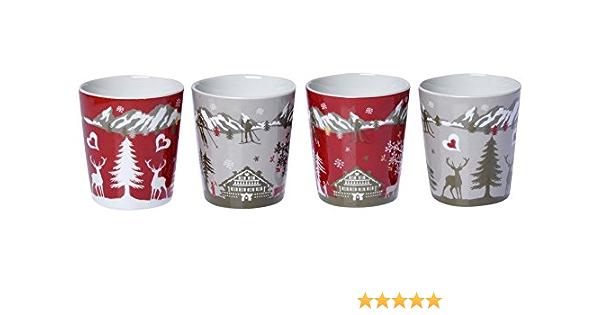Fox Trot 9070POIS Set de 4 Gobelets à Café Motif Poisson Porcelaine 6,7 cm FTD