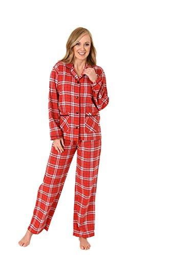Damen Flanell Pyjama langarm Karodesign - 271 201 95 001, Größe:48/50;Farbe:rot (Rot Pyjama Kariertes)