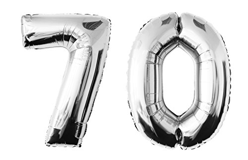 allon in der Farbe silber Heliumballon Riesenzahl Luftballon Party Kindergeburtstag Geburtstag Deko ca.100 cm (70 - Silber) (70 Geburtstag Party)