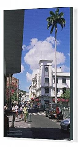 Canvas Print of Street scene with Galeries LaFayette in centre of Fort de France, Martinique