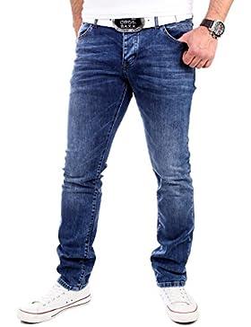 Reslad Jeans Herren Slim Fit Light Bleached 5-Pocket Jeans-Hose RS-2060 Blau