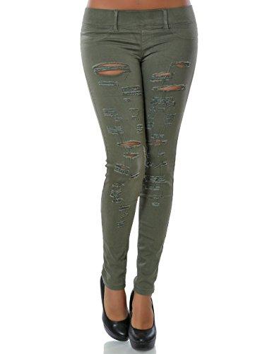Damen Treggings Hose Skinny (Röhre weitere Farben) No 14101, Farbe:Khaki;Größe:38 / M