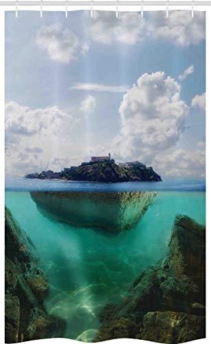 Atlantik Versorgt - ABAKUHAUS Leuchtturm Schmaler Duschvorhang, Nebelhafter Atlantik,