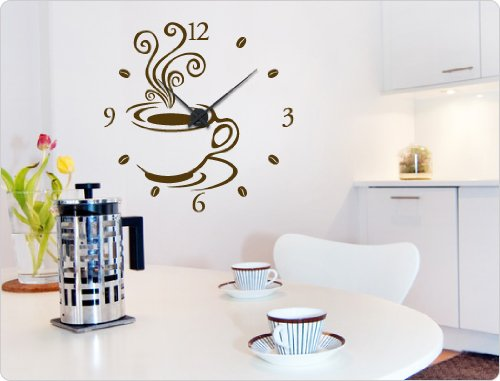 dekodino Wandtattoo-Uhr Kaffee Design