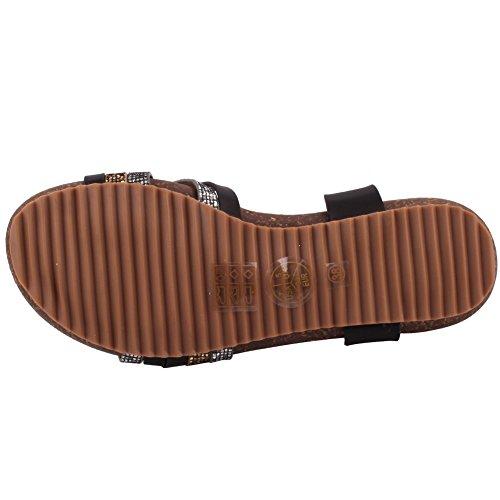 Unze Tritone' Boho cinghietti estate Beach Party nuove donne Get Together Carnevale piano casuale sandali UK Size 3-8 Nero