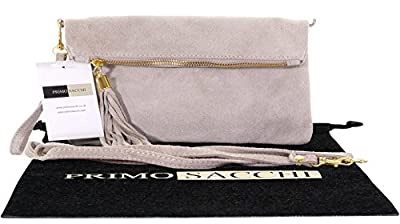 Primo Sacchi® Italian Suede Leather Hand Made Fold Over Clutch, Wrist Shoulder Bag. Includes a Branded Protective Storage Bag.